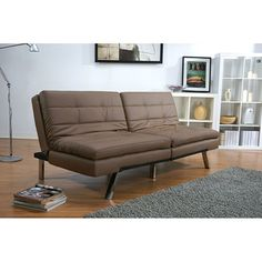 Memphis Taupe Double Cushion Futon Sofa Bed | Overstock.com Shopping - Great Deals on Futons