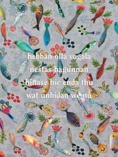 Aan de muur - Poëzieposters - poëzieposter Hebban olla vogala Marianne van Heeswijk - Plint