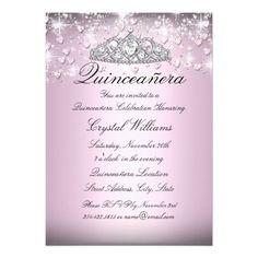 Pink Sparkle Tiara & Hearts Quinceanera Invite