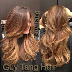 Trendy Hair Highlights : Chocolate – Caramel Ombre by Guy Tang. I'm obsessed with his ombre technique… Hairstyles For Layered Hair, Haircuts For Long Hair With Layers, Long Layered Haircuts, Long Hair Cuts, Hairstyles Haircuts, Long Hair Styles, Straight Hair, Hair Color Caramel, Ombre Hair Color