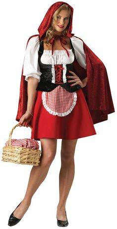 Look out big bad wolf, here comes sexy Red Riding Hood! Red Riding Hood Women Disney Costume includes peasant dress with attached apron plus hooded cape. This Sexy Red Riding . Little Red Riding Hood Halloween Costume, Red Riding Hood Costume, Sexy Halloween Costumes, Halloween Fancy Dress, Adult Costumes, Costumes For Women, Adult Halloween, Halloween Night, Couple Costumes