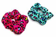Brightly Coloured Animal Print Scrunchie Turquoise-Tegen Accessories-Tegen Accessories