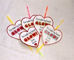 Glowstick Personalized Valentine's Day Cards (Red) -Printable