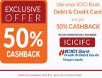 Flat 50% cashback or Rs. 50 on Mobile recharge for ICICI Users