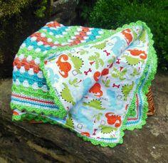 Crochet Baby Blanket Baby Dinosaur Reversible by BellaBeansCrochet, $50.00