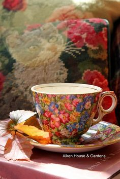 Pretty Chintz Teacup & Saucer