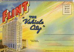 "Flint, MI, ""The Vehicle City"" Vintage Postcard Folder"