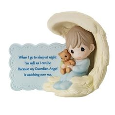 Wrapped in the love of his guardian angel's wings, this sleepy young boy hugs his snuggly teddy bear tightly and is ready for a night of sweet and peaceful dreams. This piece is perfect in any boy's n