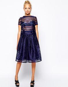 :Girls on Film Full Midi Skirt in Sheer Stripe £34.00 NOW £23.00