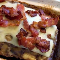 Bacon Mushroom Swiss Meatloaf This was delicious! My little sister who hates meatloaf, declared it the best meatloaf ever! Meatloaf Recipes, Beef Recipes, Cooking Recipes, Bacon Meatloaf, Cooking Bacon, Cookbook Recipes, Bacon Stuffed Mushrooms, Bacon Mushroom, Mushroom Meatloaf