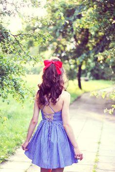 Striped tie-back dress by American Apparel (as styled by veronica załazińska) #bloggers #spring #dresses