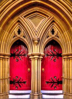 Colour me Anna : Colour me home : The doors to St Mary's Cathedral in Geelong,Australia Cool Doors, Unique Doors, Portal, Door Knockers, Door Knobs, When One Door Closes, The Door Is Open, Windows And Doors, Red Doors
