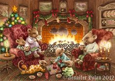 Set of 6 Mouse Family Christmas Cards (with hot cocoa & footy PJ's by the fire) Family Christmas Cards, Christmas Scenes, Cozy Christmas, Christmas Pictures, Vintage Christmas, Illustration Noel, Christmas Illustration, Illustrations, Susan Wheeler