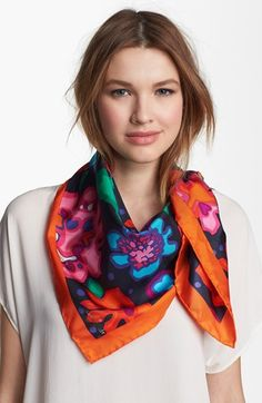 kate spade new york 'mexican floral' silk scarf   Nordstrom. Would be really cute as a head scarf too.