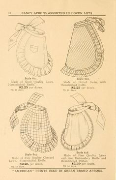 vintage aprons, yellowed paper effect Vintage Apron Pattern, Aprons Vintage, Vintage Sewing Patterns, Retro Apron, Sewing Hacks, Sewing Crafts, Sewing Projects, Costume Patterns, Apron Patterns