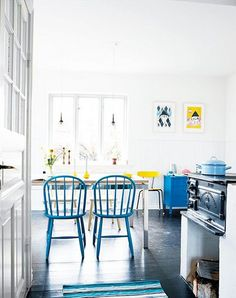 blue windsor chairs