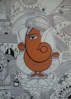 Kolkata Art House Plus Ganesha Drawing, Lord Ganesha Paintings, Ganesha Art, Krishna Art, Pichwai Paintings, Indian Paintings, Madhubani Art, Madhubani Painting, Tantra Art