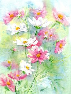 Designs For Garden Flower Beds Kolorowe Kosmosy - Maria Roszkowska Watercolor Abstract Watercolor, Watercolor Flowers, Watercolor Paintings, Watercolors, Whimsical Art, Acrylic Art, Beautiful Paintings, Painting Inspiration, Flower Art