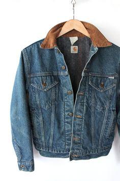 Vintage 80s Denim Acid Wash Carhartt Jacket with Corduroy Collar // Women's Small. $72.00, via Etsy.