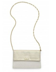 Dress this clutch down and wear it cross body by adding our Versatile Chain in gold that also doubles as a necklace!