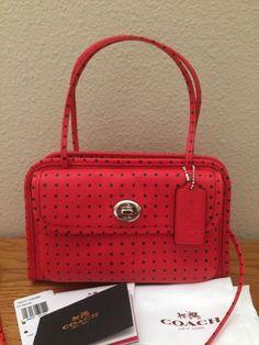 f60d9dc6b COACH CADY crossbody handbag polka dot crossgrain leather F34471 Red Bandit  NEW | eBay Cross Body