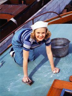 Scrubbing the deck