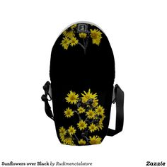 Sunflowers over Black Courier Bag by #dflcprints and #zazzle