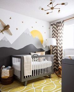 Baby Nursery: Easy and Cozy Baby Room Ideas for Girl and Boys an excellent example of a gender neutral nursery, in grays, yellows and whites. Modern, comfortable and still a very stylish nursery! Baby Boy Rooms, Baby Boy Nurseries, Kids Rooms, Baby Cribs, Room Baby, Baby Room Grey, Baby Room Ideas For Boys, Girl Room, Baby Boy Bedroom Ideas