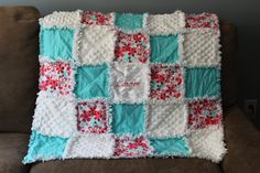 Aqua Red & Pink Floral and Minky Chenille Rag by calchicbyjacquiek, $65.00