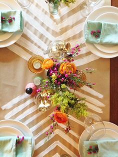 Tablescape with DIY paper runner
