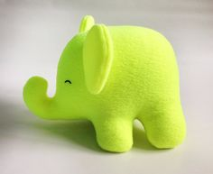 NEON Yellow Elephant Plush - stuffed animal - baby shower gift, elephant nursery, yellow, yellow nursery, birthday gift, safari nursery