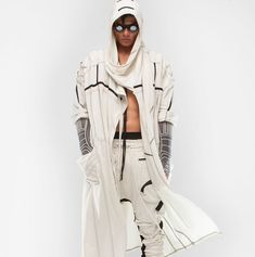 Demobaza-Men's Cardigan Wrap Ray : Ceiba SF Fleece Cardigan, Wrap Cardigan, Roll Up Sleeves, Backstage, Duster Coat, Editorial, Cotton, Jackets, Men