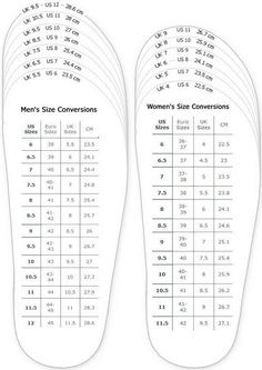 International Men's VS Women's Sizes Conversions.