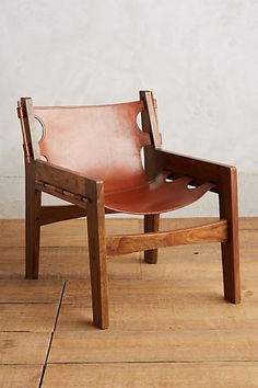 Leather Sling Chair - classic Brazilian shape, this rustic lounge chair is handcrafted from heavy gauge, full-grain leather and solid sheesham wood. #anthropologie