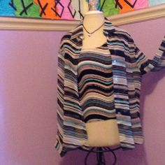 Colorful Blouse FUN SWIRL STRIPES BLACK TAN WHIT AND AQUA BLUE VERY LIGHT WEIGHT NICOLA Tops Blouses