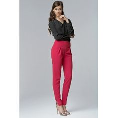 Fuchsia High Waist Tailored Pants with Slit Ankle Cuffs Womens Fashion Casual Summer, Casual Summer Dresses, Jeans Dress, Pants, Minimalist Fashion Women, Trousers Women, Women's Fashion Dresses, Chic, Models
