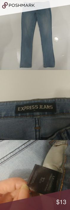 Express jeans leggings NWOT Blue jean leggings from express size 12R. Style is Stella Low Rise. Never worn but no tags. Express Jeans Ankle & Cropped