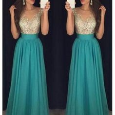 Long charming beading top blue-green chiffon prom dress,formal cheap evening dress,fs057