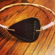 Repurposed AC/DC Guitar Pick Guitar String Bracelet -  Handmade -  Unique on Etsy, $18.00