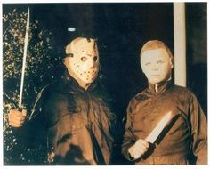 This was taken on the set of Friday the 13th part 5. Dick warlock who played Michael Myers in Halloween 2 was stunt coordinator and wore this to the set.