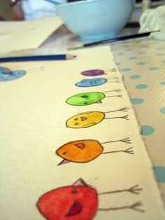 watercolor pencil rainbow birds