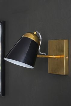 The Mortimore Wall Light - Antique Brass & Gloss Black from Rockett St George