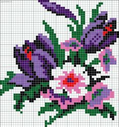 Floral pattern / chart for cross stitch, knitting, knotting, beading, weaving, pixel art, and other crafting projects.