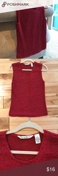 Anthropologie French Laundry Tank 💋REDUCED 💋 Beautiful red knit French Laundry in Petite Medium (fits non petite just fine). Anthropologie Tops Tank Tops