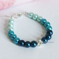 Shades of Blue Ombre Bracelet, Bridesmaids Gifts, Blue Pearl Bracelet,  Blue Ombre Pearl Bracelet, Blue Bridesmaid Omber Bracelet