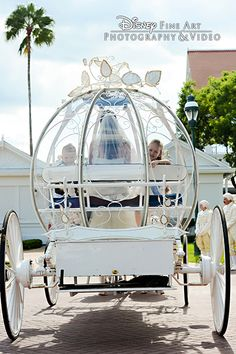 A flower girl and ring bearer help escort a bride to her Disney wedding in Cinderella's Coach