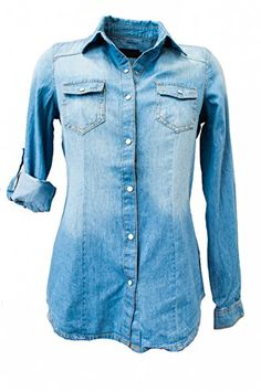 Ci Sono Juniors Denim Chambray Shirt >>> Check this awesome image @ http://www.amazon.com/gp/product/B00QMO3UB4/?tag=ilikeboutique09-20&pq=190716034617