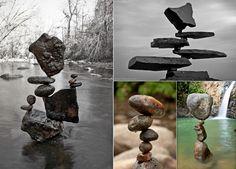 Installation de pierre, surmonté gravité. Land Art par Michael Grab