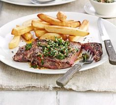 Steak with chimichurri sauce. Serve up a juicy grilled sirloin with a piquant South American sauce of parsley, oregano, garlic and chilli - and chips, of course.