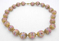 Antique Art Deco Venetian Murano Pink Gold WEDDING CAKE Bead Art Glass Necklace #Unbranded #Choker